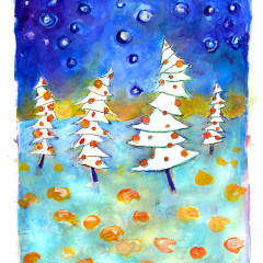 holiday tree card design
